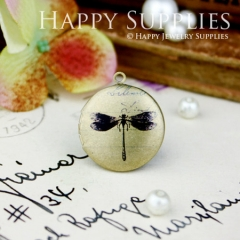 1pcs 20mm Dragonfly Handmade Antique Bronze Brass Photo Round Locket Pendant PL-20-013