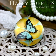 1pcs 33mm Butterfly Handmade Antique Bronze Brass Photo Round Locket Pendant PL-33-062