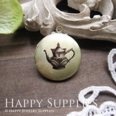 1pcs 20mm Teapot Handmade Antique Bronze Brass Photo Round Locket Pendant PL-20-012