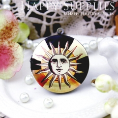 1pcs 33mm Face Sun Handmade Antique Bronze Brass Photo Round Locket Pendant PL-33-457