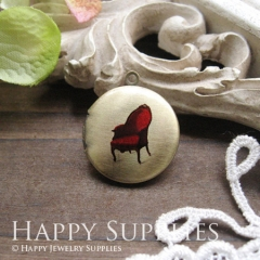 1pcs 20mm Red Chair Handmade Antique Bronze Brass Photo Round Locket Pendant PL-20-008