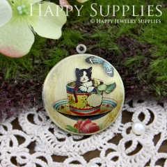1pcs 33mm Cat in the Cup Handmade Antique Bronze Brass Photo Round Locket Pendant PL-33-070
