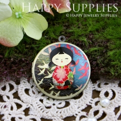1pcs 33mm Japanese dolls Handmade Antique Bronze Brass Photo Round Locket Pendant PL-33-146