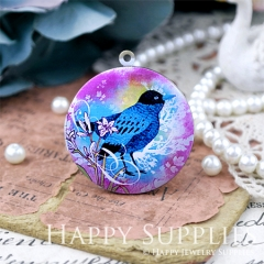 1pcs 33mm Bird Handmade Antique Bronze Brass Photo Round Locket Pendant PL-33-W107