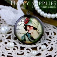 1pcs 33mm Beautiful Lady Handmade Antique Bronze Brass Photo Round Locket Pendant PL-33-117