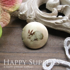 1pcs 20mm Rabbit Handmade Antique Bronze Brass Photo Round Locket Pendant PL-20-030