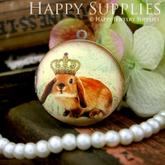 1pcs 33mm Crown Rabbit Handmade Antique Bronze Brass Photo Round Locket Pendant PL-33-370