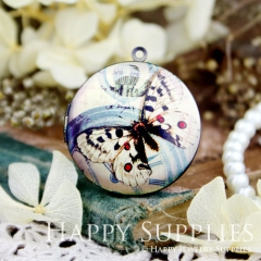 1pcs 33mm Butterfly Handmade Antique Bronze Brass Photo Round Locket Pendant PL-33-055