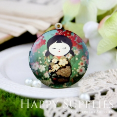 1pcs 33mm Japanese dolls Handmade Antique Bronze Brass Photo Round Locket Pendant PL-33-148