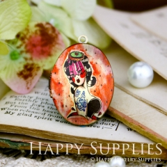 1pcs 23x30mm Woman Handmade Antique Bronze Brass Photo Oval Locket Pendant PL-2330-079