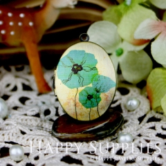 1pcs 23x30mm Flower Handmade Antique Bronze Brass Photo Oval Locket Pendant PL-2330-060