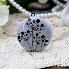 1pcs 33mm Dandelion Handmade Antique Bronze Brass Photo Round Locket Pendant PL-33-W68