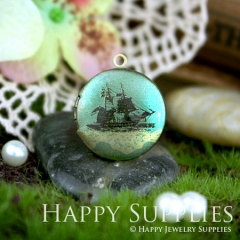 1pcs 20mm Sailing Boat Handmade Antique Bronze Brass Photo Round Locket Pendant PL-20-009