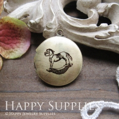 1pcs 20mm Wooden Horse Handmade Antique Bronze Brass Photo Round Locket Pendant PL-20-026