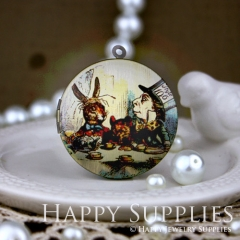 1pcs 33mm Mad Hatter and Mr. Rabbit Alice Handmade Antique Bronze Brass Photo Round Locket Pendant PL-33-086
