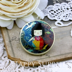 1pcs 33mm Japanese dolls Handmade Antique Bronze Brass Photo Round Locket Pendant PL-33-149