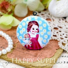 1pcs 33mm Girl Doll Handmade Antique Bronze Brass Photo Round Locket Pendant PL-33-W83