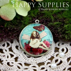 1pcs 33mm Girl on the Flower Handmade Antique Bronze Brass Photo Round Locket Pendant PL-33-102
