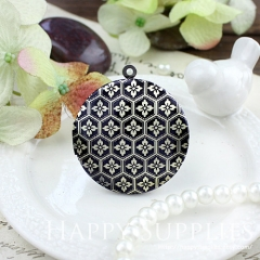 1pcs 33mm Pattern Handmade Antique Bronze Brass Photo Round Locket Pendant PL-33-510