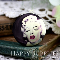 1pcs 33mm Marilyn Monroe Handmade Antique Bronze Brass Photo Round Locket Pendant PL-33-379