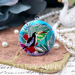 1pcs 33mm Parrot Handmade Antique Bronze Brass Photo Round Locket Pendant PL-33-W106