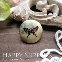 1pcs 20mm Butterfly Handmade Antique Bronze Brass Photo Round Locket Pendant PL-20-010