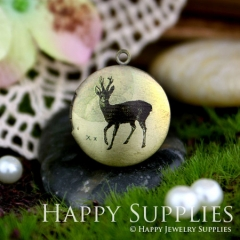 1pcs 20mm Deer Handmade Antique Bronze Brass Photo Round Locket Pendant PL-20-001