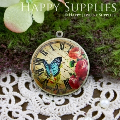 1pcs 33mm Butterfly Flower Handmade Antique Bronze Brass Photo Round Locket Pendant PL-33-121