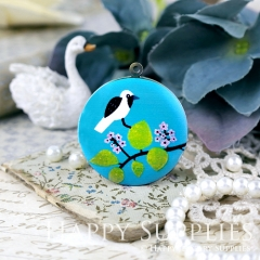 1pcs 33mm Bird Leaves Handmade Antique Bronze Brass Round Locket  Photo Pendant PL-33-W133