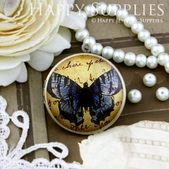 1pcs 33mm Butterfly Handmade Antique Bronze Brass Photo Round Locket Pendant PL-33-355