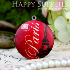1pcs 33mm Eiffel Tower Handmade Antique Bronze Brass Photo Round Locket Pendant PL-33-138