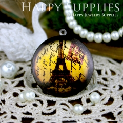 1pcs 33mm Eiffel Tower Handmade Antique Bronze Brass Photo Round Locket Pendant PL-33-085