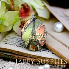 1pcs 23x30mm Tower Handmade Antique Bronze Brass Photo Oval Locket Pendant PL-2330-032