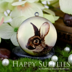 1pcs 33mm Beard Rabbit Handmade Antique Bronze Brass Photo Round Locket Pendant PL-33-367