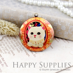 1pcs 33mm Cat Handmade Antique Bronze Brass Photo Round Locket Pendant PL-33-523