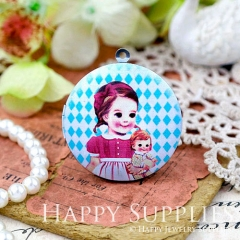 1pcs 33mm Girl Doll Handmade Antique Bronze Brass Photo Round Locket Pendant PL-33-W82