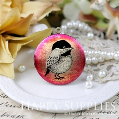 1pcs 33mm Bird Handmade Antique Bronze Brass Photo Round Locket Pendant PL-33-622