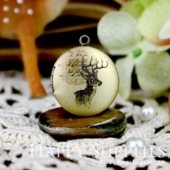 1pcs 20mm Deer Head Handmade Antique Bronze Brass Photo Round Locket Pendant PL-20-031