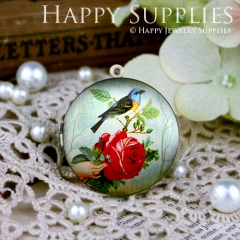 1pcs 33mm Bird Rose Handmade Antique Bronze Brass Photo Round Locket Pendant PL-33-080