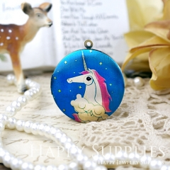 1pcs 33mm Unicorn Handmade Antique Bronze Brass Photo Round Locket Pendant PL-33-634
