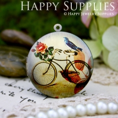 1pcs 33mm Bicycle Bird Handmade Antique Bronze Brass Photo Round Locket Pendant PL-33-386