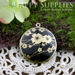 1pcs 33mm Cherry Blossoms Handmade Antique Bronze Brass Photo Round Locket Pendant PL-33-154