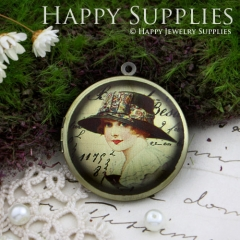 1pcs 33mm Beautiful Lady Handmade Antique Bronze Brass Photo Round Locket Pendant PL-33-116