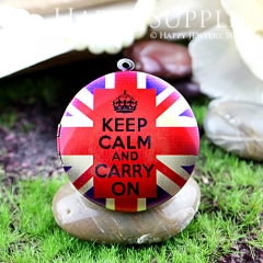 1pcs 33mm Keep Calm Carry On Handmade Antique Bronze Brass Photo Round Locket Pendant PL-33-392