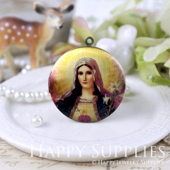 1pcs 33mm Our Lady Handmade Antique Bronze Brass Photo Round Locket Pendant PL-33-644