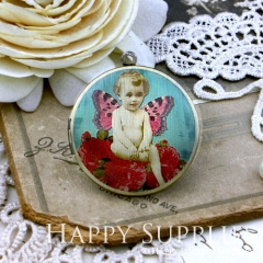 1pcs 33mm Child with Butterfly Wings Handmade Antique Bronze Brass Photo Round Locket Pendant PL-33-099