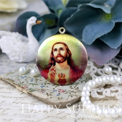 1pcs 33mm Jesus Handmade Antique Bronze Brass Photo Round Locket Pendant PL-33-647