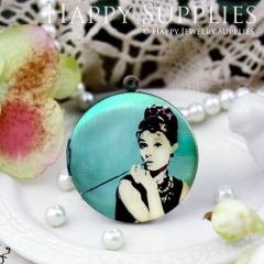 1pcs 33mm Audrey Hepburn Handmade Antique Bronze Brass Photo Round Locket Pendant PL-33-456