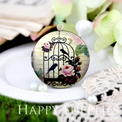 1pcs 33mm Birds  Cage Handmade Antique Bronze Brass Photo Round Locket Pendant PL-33-063
