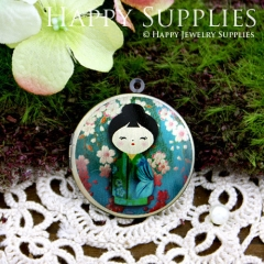 1pcs 33mm Japanese dolls Handmade Antique Bronze Brass Photo Round Locket Pendant PL-33-144